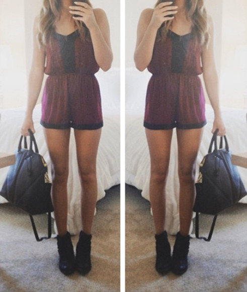 romper shirt a little bit of black oxblood one piece