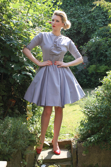 dress 1950s vintage dove grey mad men itsvintagedarling cocktail wedding guest