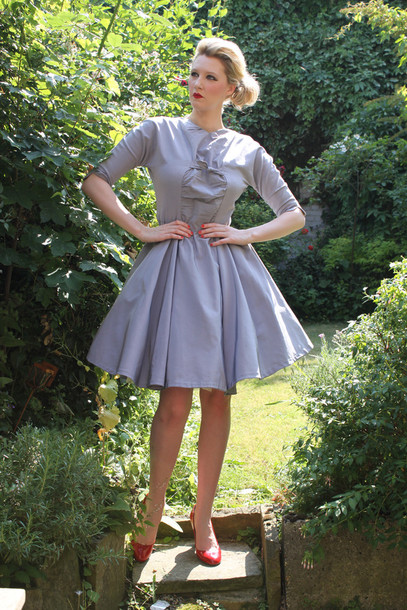 dress vintage 50s style dove grey mad men