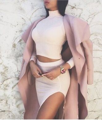 coat winter coat trench coat fall coat pink coat long coat outfit outfit idea fall outfits winter outfits cute outfits date outfit party outfits long sleeves top summer top crop tops long sleeve crop top turtleneck skirt pencil skirt high waisted skirt slit skirt two-piece two piece dress set trendy clothes fashion stylish style