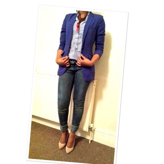 scarf jeans blue smart casual