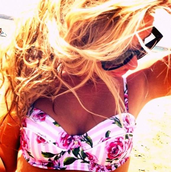 swimwear floral swimwear bikini stripes pink rose floral