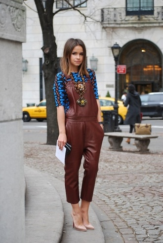 jumpsuit overalls leather cropped jumpsuit top blue top high heel pumps high heels pumps necklace statement necklace miroslava duma fashionista streetstyle