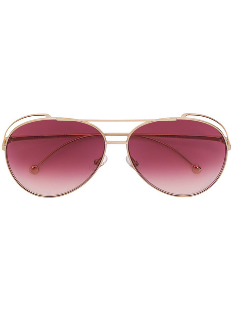 Fendi Eyewear oversized metal women sunglasses aviator sunglasses grey metallic