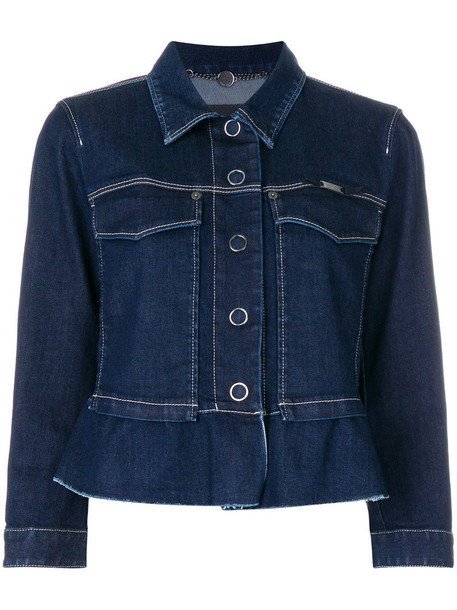 Marc Cain jacket denim jacket denim short women spandex cotton blue