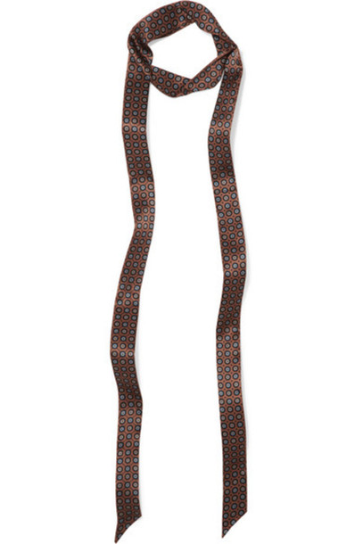 Gucci - Printed Silk-satin Scarf - Brown