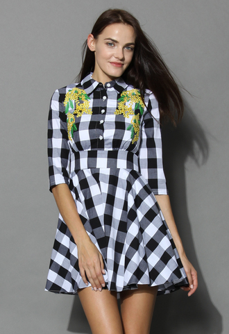 dress picnic embroidered gingham dress chicwish gingham check