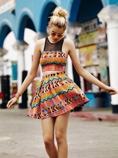 top,patterned matching crop top,sexy combo,cute,patterned skirt,style,dress,orange colorful