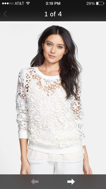 sweater white lace long sleeves top