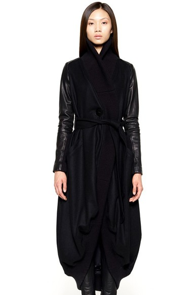 wool black coat grunge goth lether cape hood black cape lether jacket
