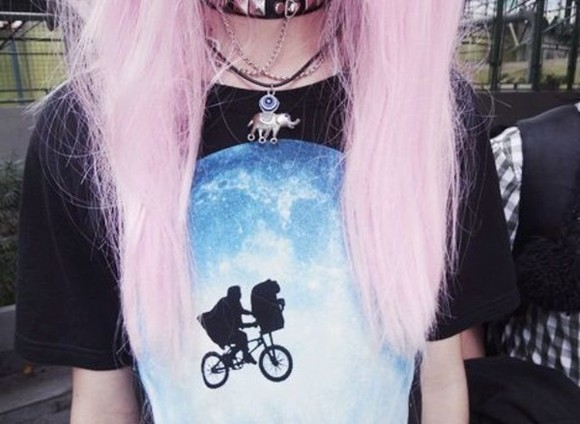 t-shirt hipster fashion goth punk emo hairstyles necklace et top movie