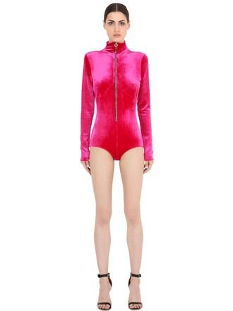 bodysuit zip velvet underwear