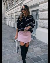 sweater,knitted sweater,logo,balenciaga,mini skirt,skirt,denim skirt,asymmetrical skirt,high heels boots,black boots,suede boots,handbag,sunglasses