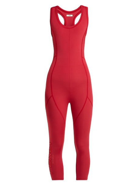 Fendi - Perforated Jumpsuit - Womens - Red