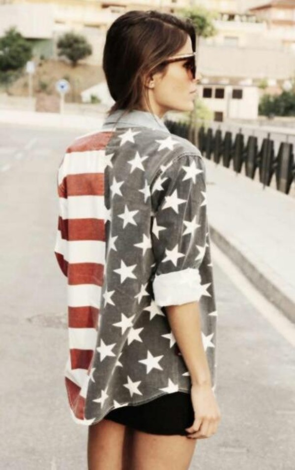 jacket clothes tumblr denim jacket sunglasses stars stripes shirt girly tumblr girl tumblr clothes american flag