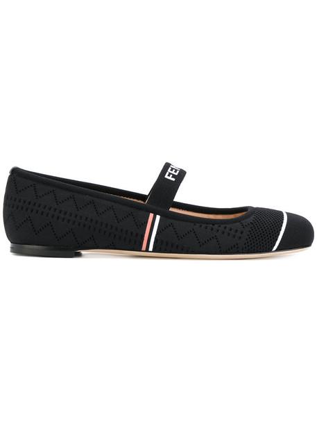 Fendi women leather black shoes