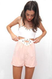 shirt,dress,bodysuit,tumblr,pretty,studs,chiffon,shorts,romper,jumper,onesie,pink,cut-out,white