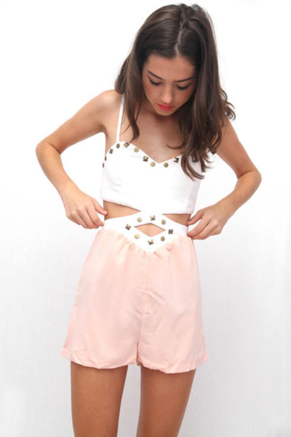shirt dress bodysuit tumblr pretty studs chiffon shorts romper jumper onesie pink cut-out white