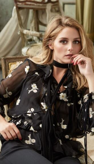 blouse olivia palermo floral see through