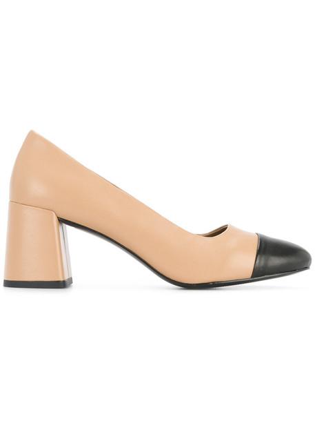heel women pumps leather brown shoes