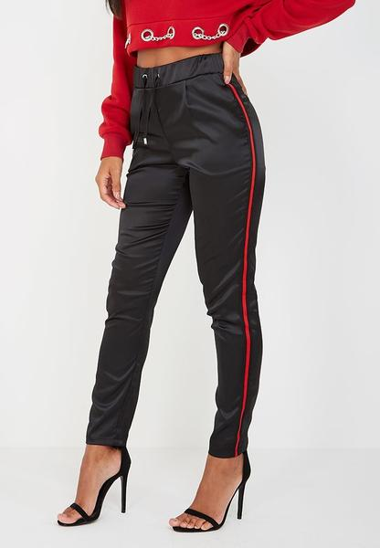 Satin Joggers with Contrast Stripe - Black