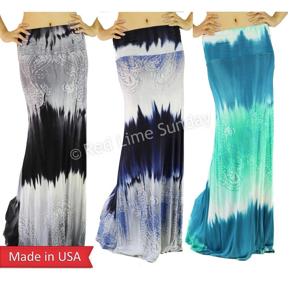 New Boho Hippie Tie Dye Ombre Stripe Paisley Print Long Fold Over Maxi Skirt USA