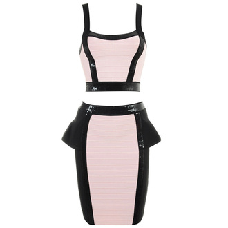 dress bqueen fashion girl lady party chic sexy pink black bandage two-piece set