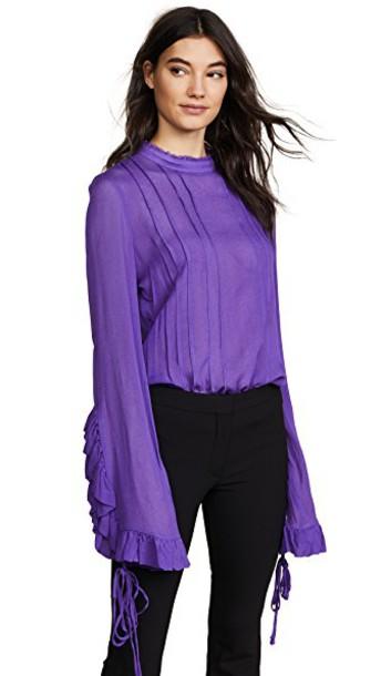 blouse pleated purple top