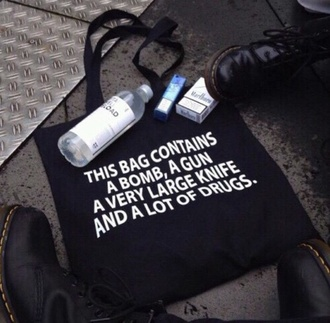 bag black bag gun drugs fashion funny black
