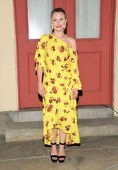 dress,yellow,yellow dress,one shoulder,midi dress,asymmetrical dress,kristen bell,sandals,spring dress