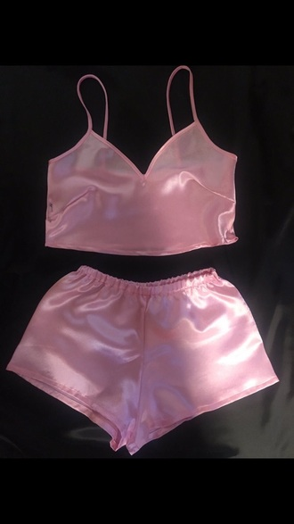 pajamas pink satin silk shorts tank top crop tops lingerie lingerie set