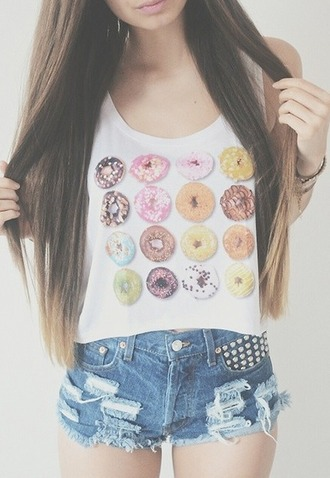 tank top top donut dunuts girl girly summer boho bohemian grunge pale vintage hipster indie crop tops print cute pink shorts