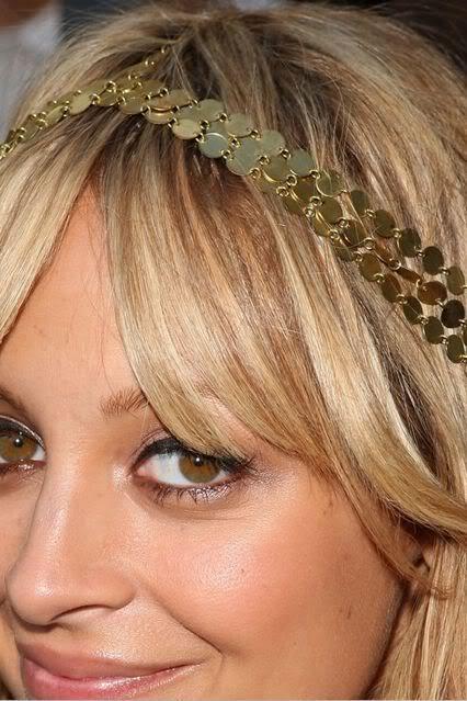 Runway celeb gold golden 7 seven strand coin headpiece