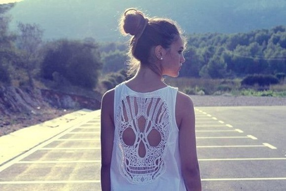 holes t-shirt white shirt skeleton hipster cool skull tshirt cutout top skulls tank top clothes white tank top open back