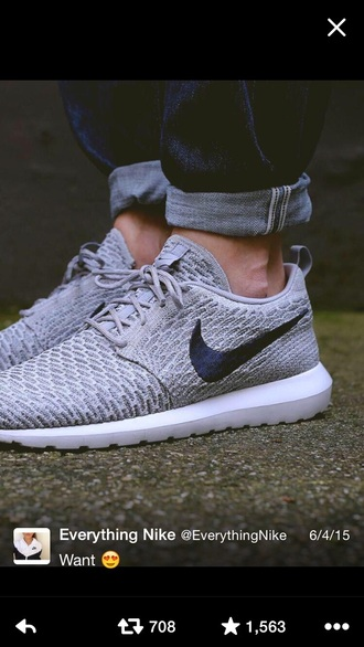 shoes grey running shoes roshe runs nike shoes nike running shoes nike nike sneakers nike roshe run sneakers mens shoes nike flyknit mens low top sneakers