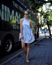 dress,tumblr,mini dress,blue dress,halter neck,halter dress,sleeveless,sleeveless dress,sandals,sandal heels,high heel sandals,summer outfits,shoes