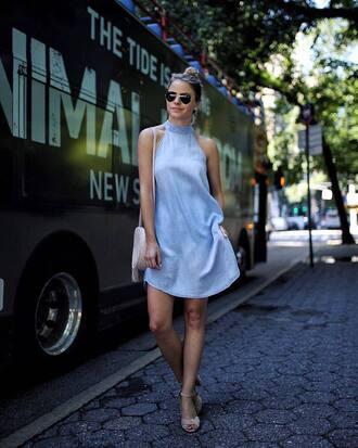 dress tumblr mini dress blue dress halter neck halter dress sleeveless sleeveless dress sandals sandal heels high heel sandals summer outfits shoes