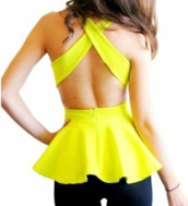 blouse,neon,peplum,peplum top,criss cross,top,neon yellow,yellow peplum,classy,yellow top,cross,crossed back,fashion,open back