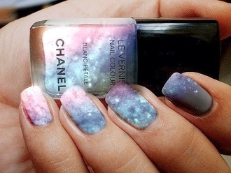 nail polish galaxy print galaxy nail vernis chanel nails nail art chanel inspired colorful galaxy dress nice ilove purple pink white make-up space chanel nail polish sparkle glitter nail accessories leggings cute tumblr nai art color/pattern beautiful galaxy nail polish