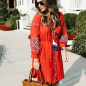 dress,tumblr,embroidered,embroidered dress,red dress,mini dress,red mini dress,button up,long sleeves,long sleeve dress