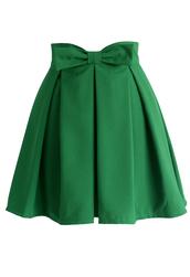 skirt,sweet your heart bowknot pleated skirt in emerald green,chicwish,pleated skirt,bowknot skirt,cute skirt,chicwish.com
