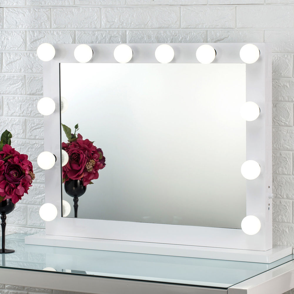 White hollywood makeup vanity mirror with light stage for Beauty mirror