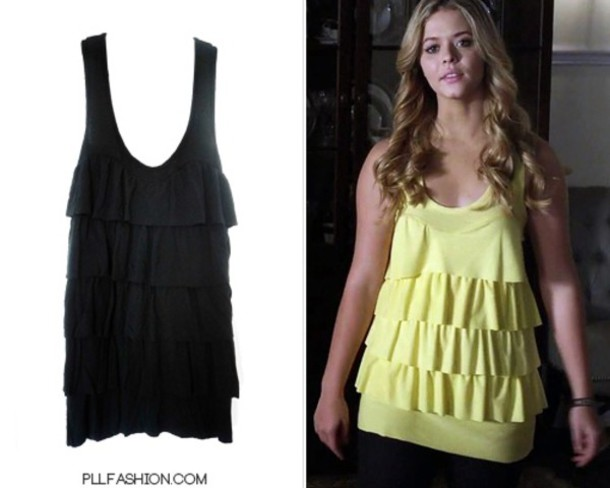 pilot pretty little liars alison dilaurentis alison yellow top top pretty little liars sasha pieterse ruffle blouse