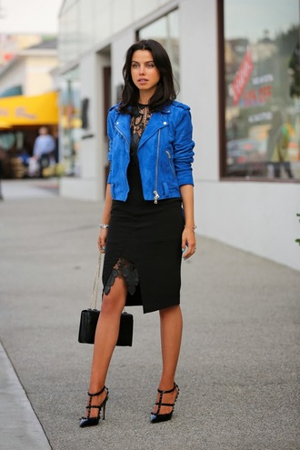 viva luxury dress jacket shoes bag jewels blue jacket biker jacket leather jacket