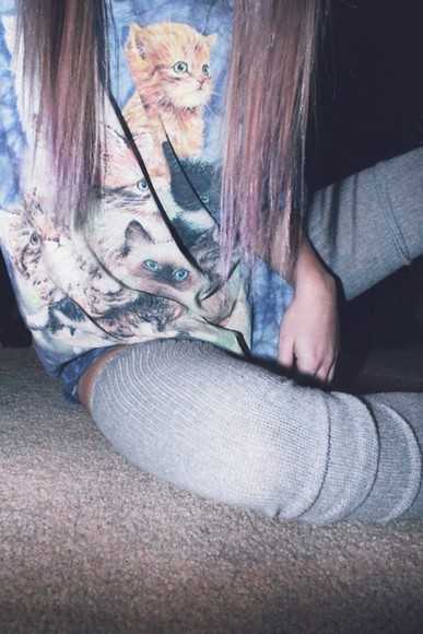 cats t-shirt tumblr cool kittens cats t-shirt tshirt tye dye tumblr clothes from tumblr pastel grunge