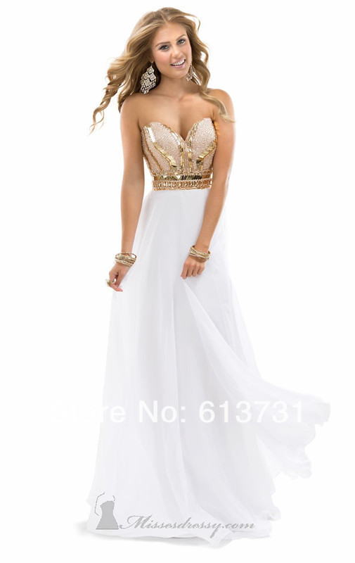 Hot sale 2014 sparkle sweetheart crystal beaded bodice a line white and gold prom dresses backless chiffon long evening gown