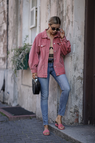 jacket tumblr pink jacket denim jeans blue jeans shoes pink shoes flats mules bag black bag