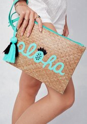 bag,clutch,aloha,aloha bag,summer bag,summer,boho,beach bag,beach,straw,picnic bag,bamboo,bamboo bag,embroidered bag,beaded bag,beaded detail,embroidered