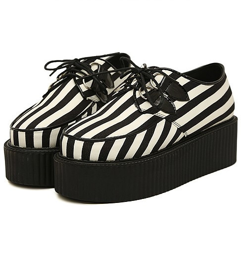 black white striped platform shoes