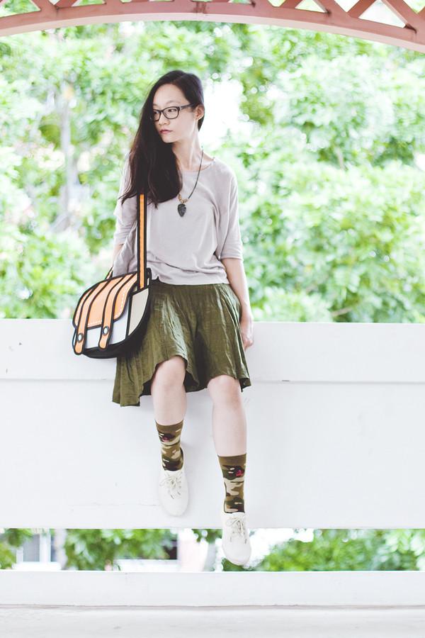 pupuren blogger top jewels bag socks skirt shoes